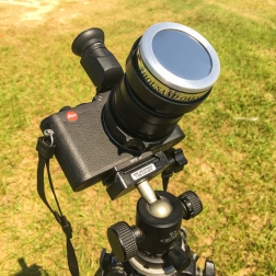 Thousand Oaks solar filter fitted to the lens hood